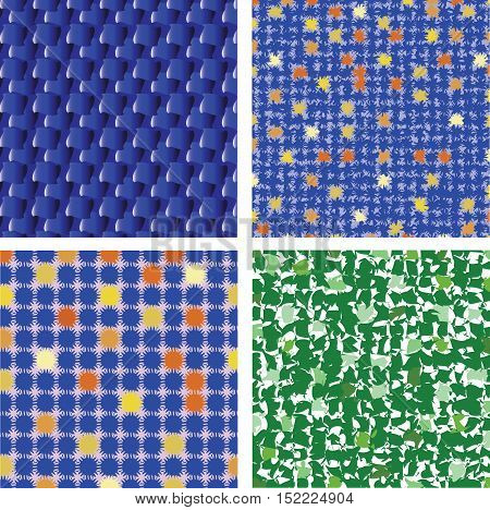 A set of backgrounds for textiles. Pattern, background, texture for posters, presentations, textiles, tiles, paper products. Vector image.