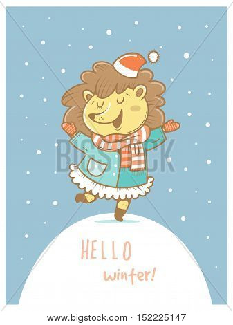 Card with cute cartoon hedgehog  in coat and hat. Winter time. Snow day. little creatures in clothes. Funny animal. Vector image. Children's illustration.