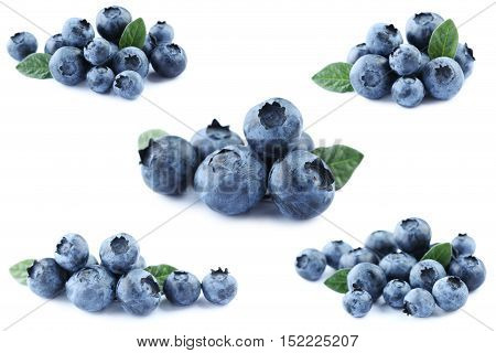 Collage Of Blueberries Isolated On A White