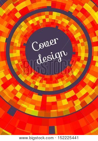 Mosaic cover for flyers brochures booklet leaflet poster books cards. Vector red and green pattern with concentric circles and pixels. Design element. Abstract background.