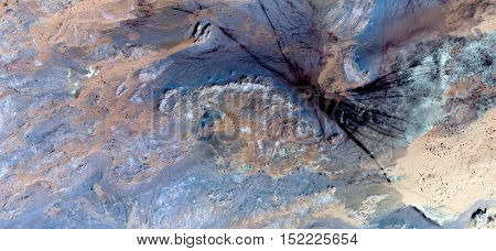 mark in the desert,meeting point,, Abstract photography of landscapes of deserts of Africa from the air