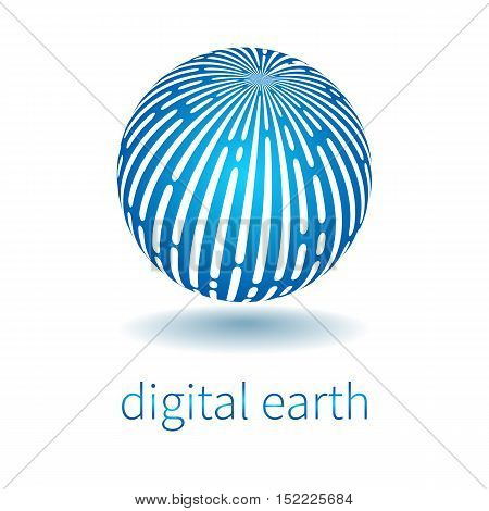 Techno logo. Vector earth globe symbol of social network. communication progress and high technology. White stripes on blue circle.