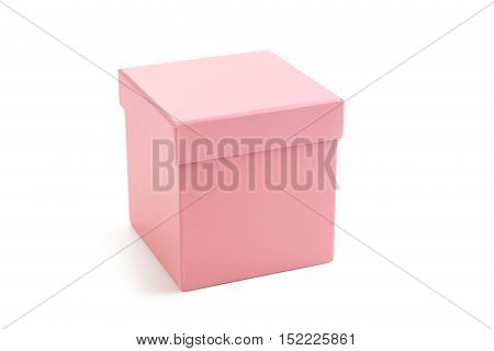 Pink box isolated on a white, close up