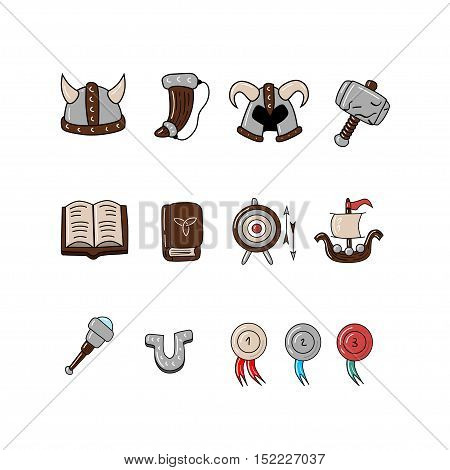 Great designed cartoon viking icon for illustrations