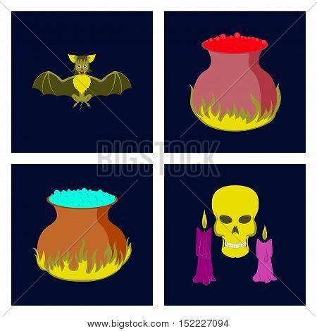 assembly of flat illustration cute bat potion cauldron candle skull