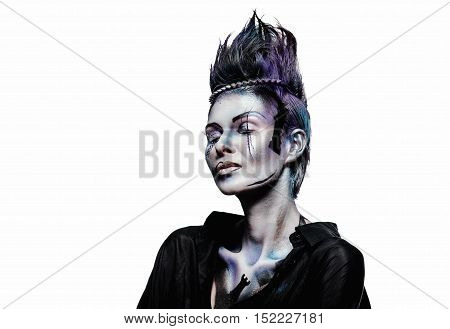 Beautiful woman with a creative chess figures make-up isolated on white background. Studio shot