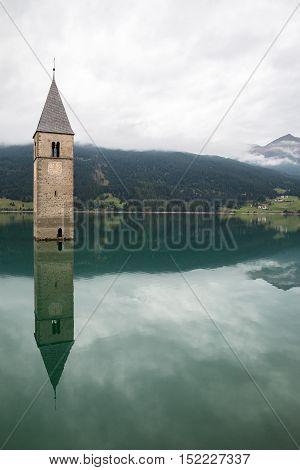 Church tower of Lago di Resia - Curon Venosta, South Tirol of Italy
