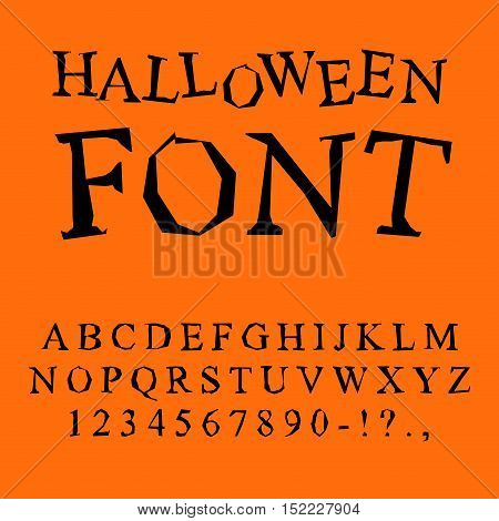 Halloween font. Curves of letters to terrible holiday. Broken alphabet. Uneven ABC