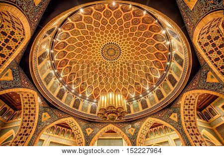 DUBAI, UAE - OCTOBER 17, 2016: The Persian Court of the Ibn Battuta Mall.  Based on the travels of Ibn Battuta, this mall is divided into six courts each depicting a different country