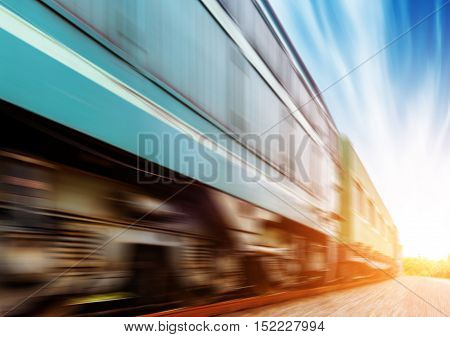 The train traveled fast on the railroad.