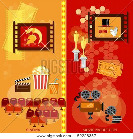 Cinema banner film movie industry template popcorn soda tickets vector
