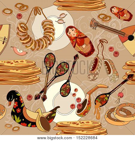 Seamless pattern with russian cuisine. Russian food. Hand drawn Russia national traditional background