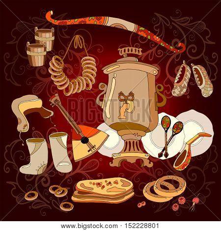 Welcome to Russia. Traditional Russian cuisine and culture. Balabayka samovar matryoshka