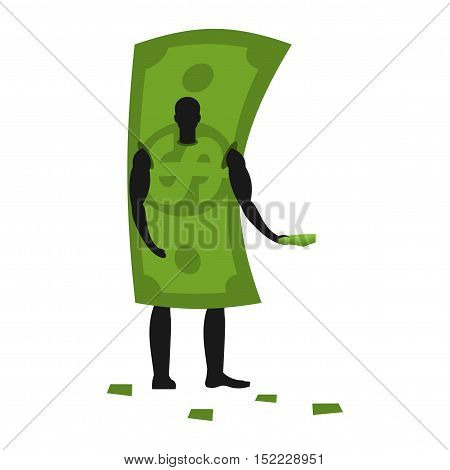 Money Mascot Man Promoter. Male In Dollar Costume Handing Out Flyers. Cash Puppets Engaged In Advert