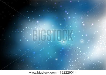 Abstract space background with stars. Star space illustration. Black spaces. Cosmic texture with glowing stars.