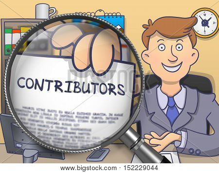 Contributors. Officeman Showing Concept on Paper through Lens. Multicolor Modern Line Illustration in Doodle Style.