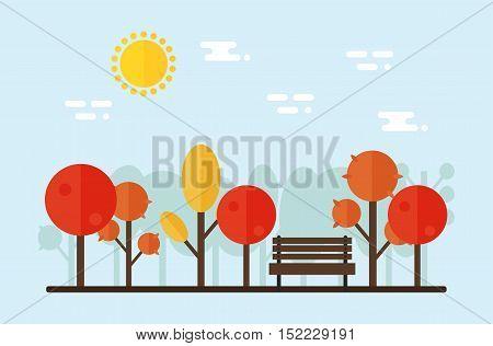 Park landscape on background. Park trees and bench. Autumn landscape. Flat vector illustration design.