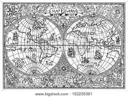 Graphic illustration of ancient atlas map of world with mystic symbols. Vintage or pirate adventures, treasure hunt and old transportation concept. Black and white doodle drawing for coloring book
