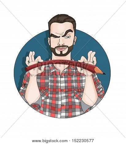 Artist illustrator or painter. Man's professional avatar. Frown specialist with beard and large-checked shirt. You can write your own text on bent pencil and use it like a logo. - top stock vector