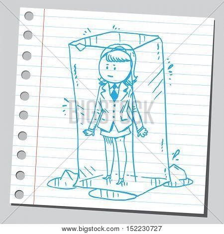 Businesswoman in ice cube
