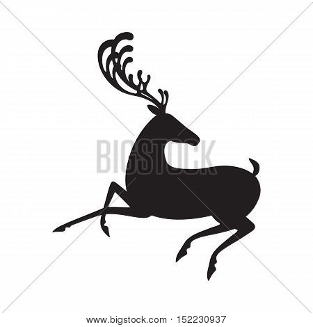 Deer black vector illustration elk silhouette isolated
