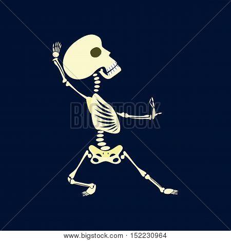 flat illustration on stylish background of skeleton Halloween monster