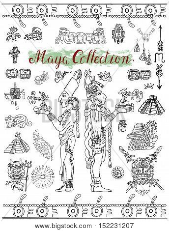 Set with Mayan, inca or aztecs mystic symbols and indian people. Pattern vector illustration and doodle drawing for design. Graphic glyphs and icons for coloring book