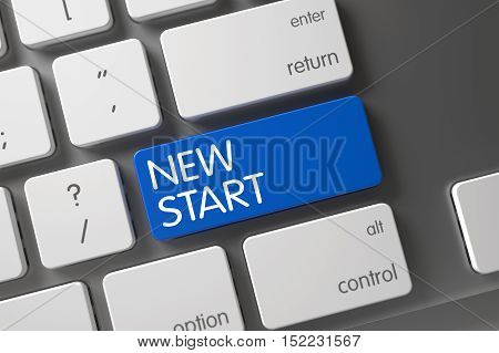 New Start Concept Metallic Keyboard with New Start on Blue Enter Keypad Background, Selected Focus. 3D Render.