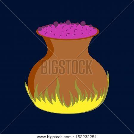 flat illustration on stylish background of potion cauldron