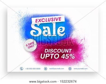 Exclusive Sale with Discount upto 45%. Creative abstract background. Can be used as Poster, Banner or Flyer design.