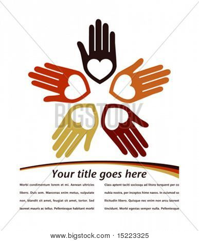 Circle of colorful hands with copy space vector.