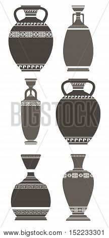 Set of elegant antique vases on white background. Stylish greek vases can be used for your creative designs.