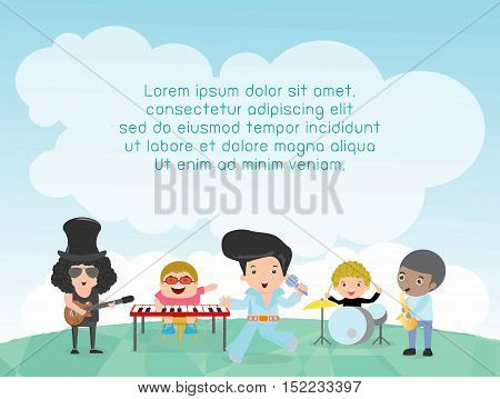 Kids and music, Children playing Musical Instruments, child and music, kids playing Musical,Template for advertising brochure,your text ,Cute little Kids and music, guitar drums bass saxophone piano