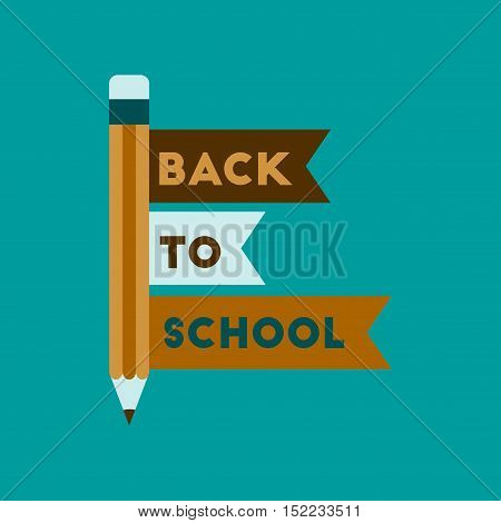 flat icon on stylish background Back to school pencil