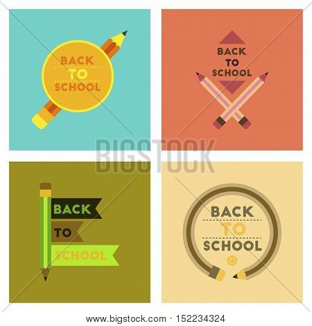 assembly of flat icons Back to school pencil