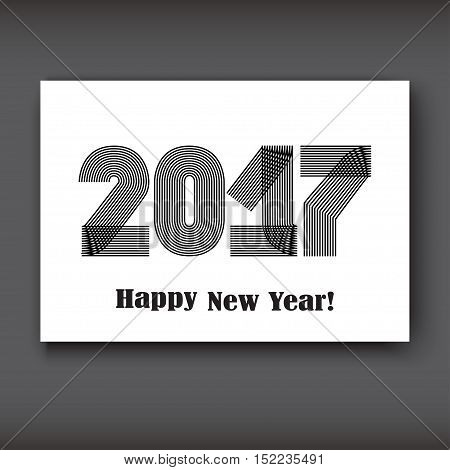 Happy New 2017 Year modern design black on white background year 2017 in thin lines striped minimalist numbers written with a pen vector illustration