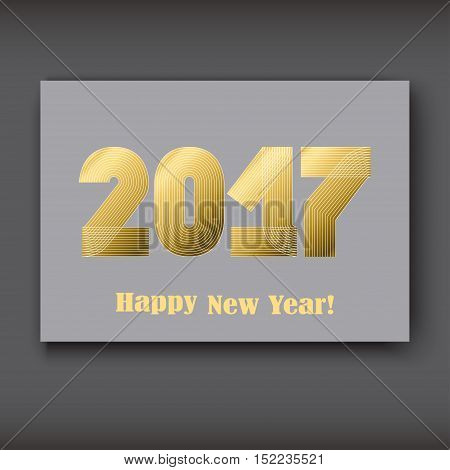 Happy New 2017 Year modern design gold on gray background year 2017 in thin lines striped minimalist numbers written with a pen vector illustration