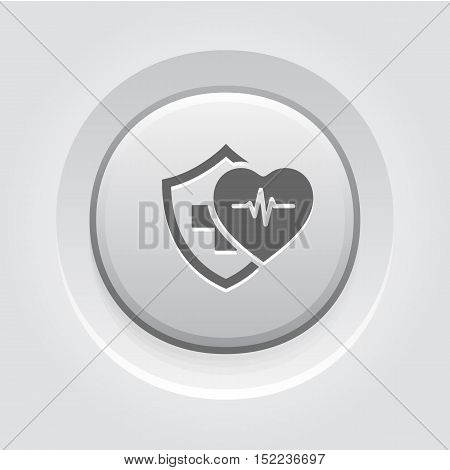 Health Insurance Icon. Grey Button Design. Isolated Illustration. Heart with pulse and a shield with a cross behind them.