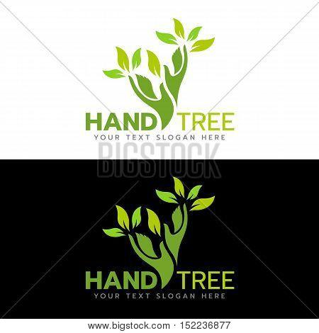 Green hand tree logo vector illustration design