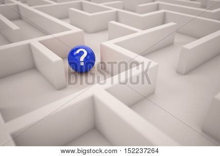 Navigation in maze with blue target ball (3D Rendering)