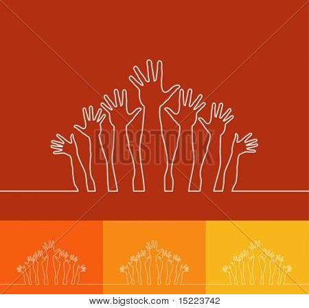Simple line illustration of realistic happy hands vector.