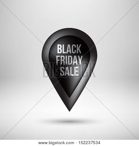 Black abstract premium map pointer, luxury badge, gps button with black deals text, realistic shadow and light background for logo, design concepts, banners, apps and prints. Vector illustration
