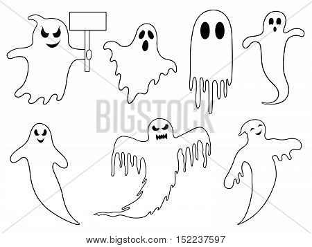 Set of different ghosts isolated on white