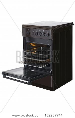 New brown gas stove isolated on a white background