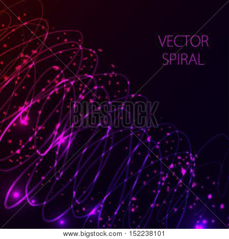 Glowing spiral on dark background. Blue and pink abstract light hi tech concept