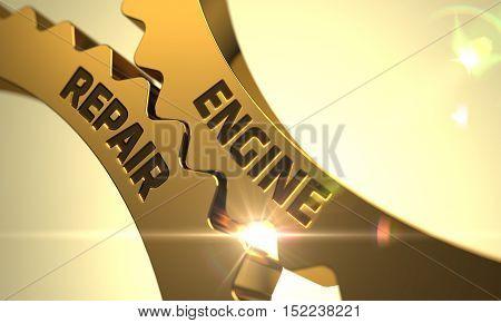 Engine Repair on Mechanism of Golden Metallic Cogwheels with Lens Flare. 3D.