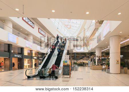 Minsk, Belarus - October 8, 2016: Escalator In Shopping Center Minsk City Minsk Belarus.