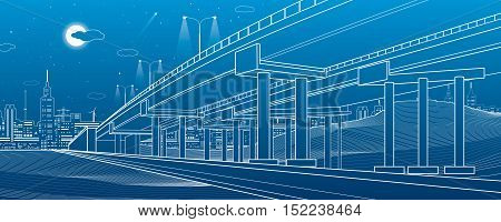 Automotive overpass, architectural and infrastructure illustration, transport flyover, highway, white lines urban scene, night city on background, vector design art
