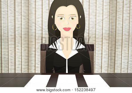 Character woman sitting in a chair in front of the table, gives three options of blank paper to put text. Scenario composed of a woman dressed like a business woman with papers on the table.