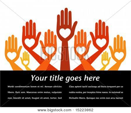 Helpful hands with copy space vector.